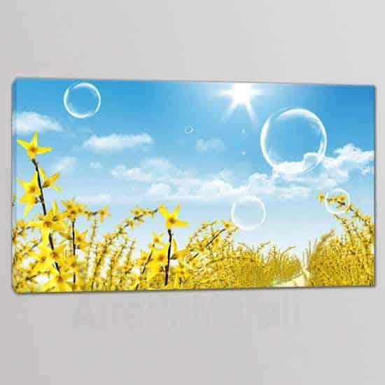 quadro a tela singola con paesaggio fiori gialli