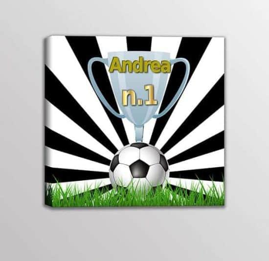 Quadro moderno nome personalizzato squadra calcio bambini bianco nero
