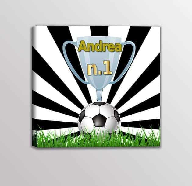 Quadro-moderno-nome-personalizzato-squadra-calcio-bambini-bianco-nero