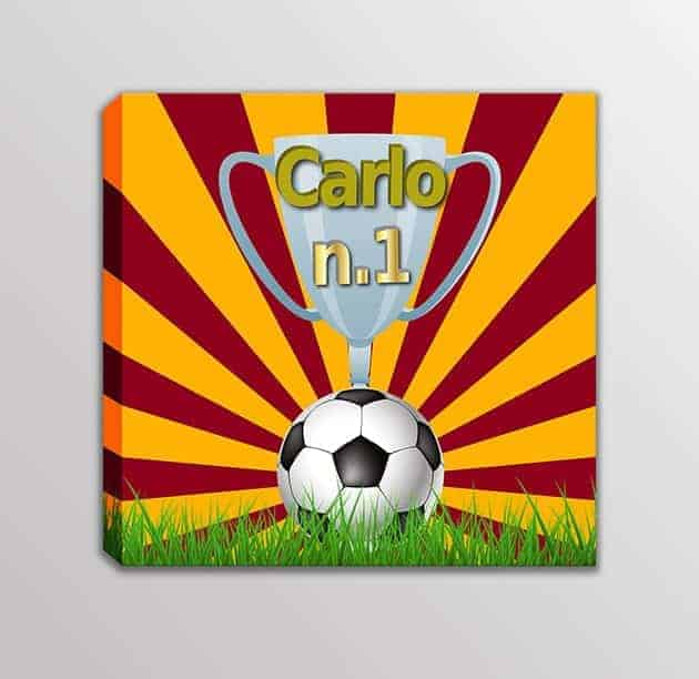 Quadro-moderno-nome-personalizzato-squadra-calcio-bambini-giallo-rosso