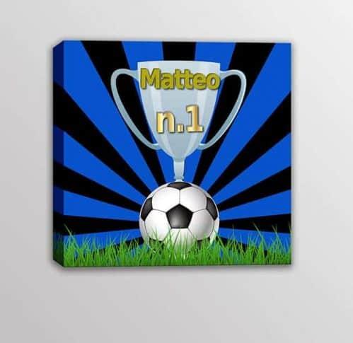 Quadro moderno nome personalizzato squadra calcio bambini nero azzurro