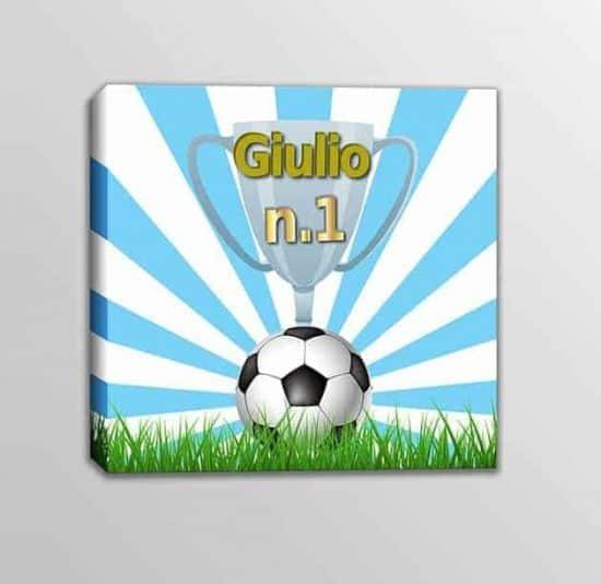 Quadro moderno nome personalizzato squadra calcio bambini bianco azzurro