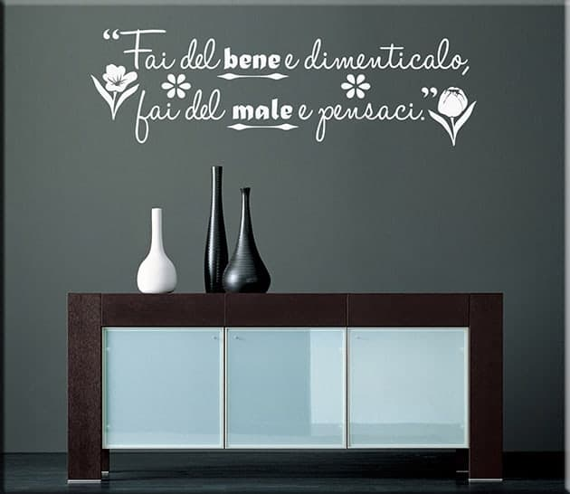 adesivi da parete frase proverbio italiano