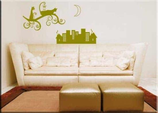 adesivi da parete gatti stilizzati città