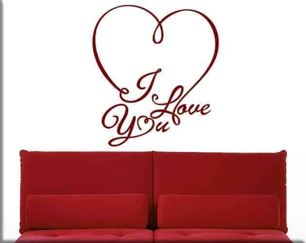 adesivi da parete i love you letto arredo