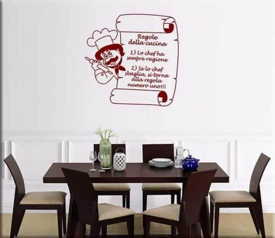 adesivi da parete regole della cucina
