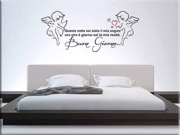 Adesivi murali frase amore buon giorno - Adesivi parete camera da letto ...