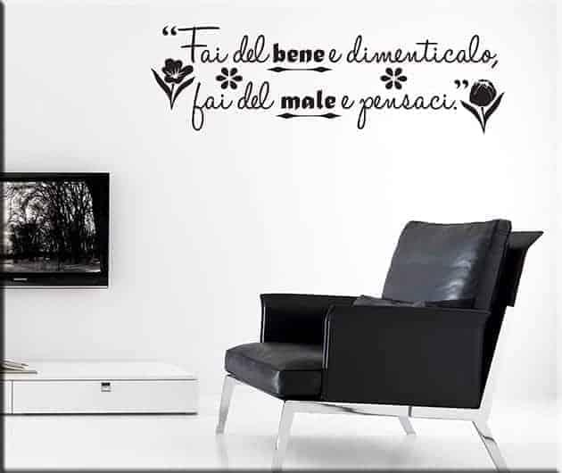 adesivi murali frase proverbio italiano