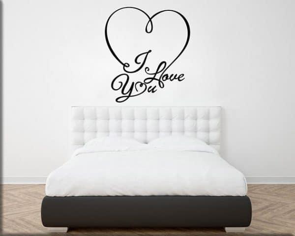 adesivi murali i love you letto arredo