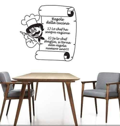 Adesivi murali regole della cucina for Adesivi muro cucina