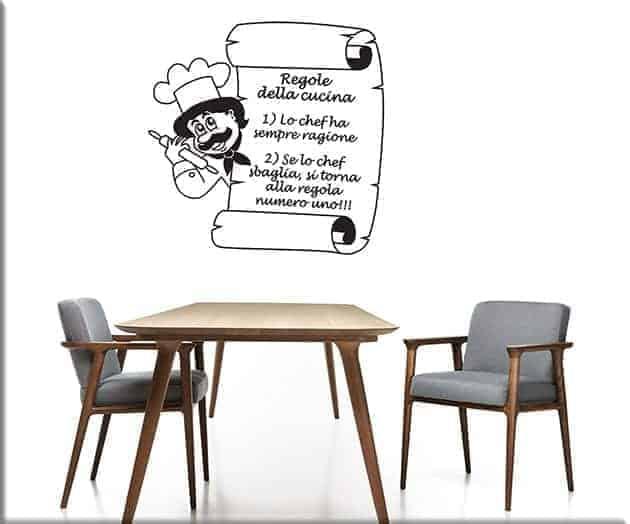 adesivi murali regole della cucina