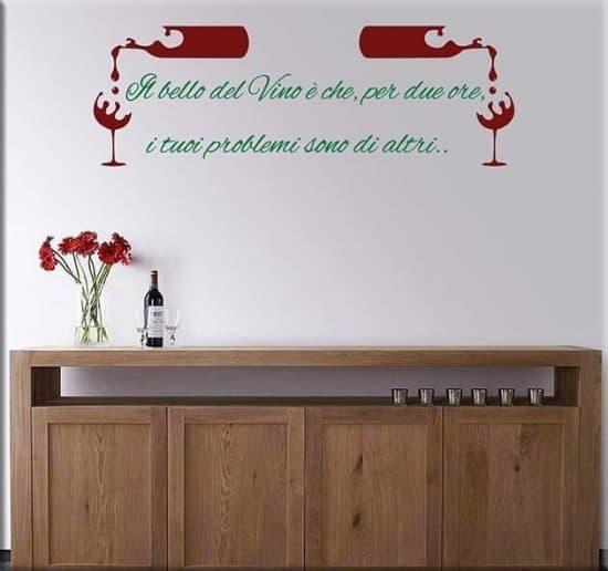 decorazioni adesive murali frase vino osteria