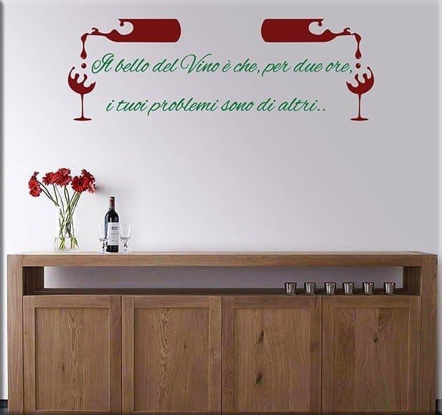 Adesivi da parete frase vino osteria ristorante - Stickers da parete personalizzati ...