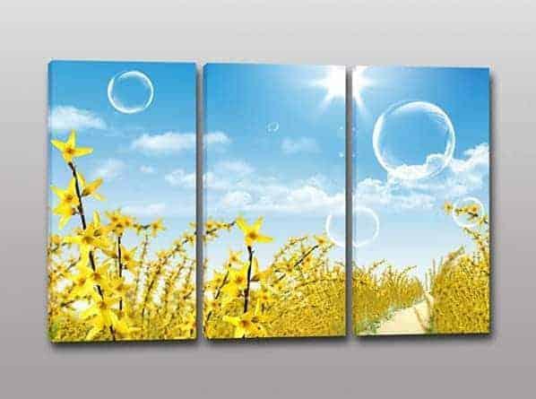 quadri moderni paesaggio fiori gialli