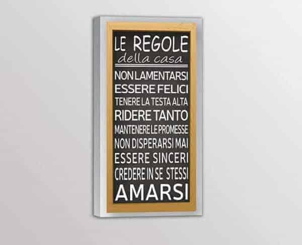 quadro moderno frase regole della casa