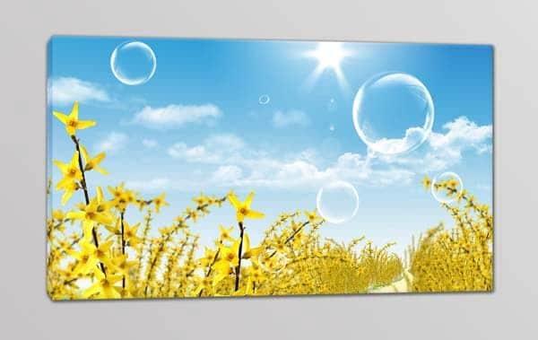 quadro moderno paesaggio fiori gialli