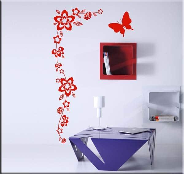 decorazioni murali fiori farfalla arredo design