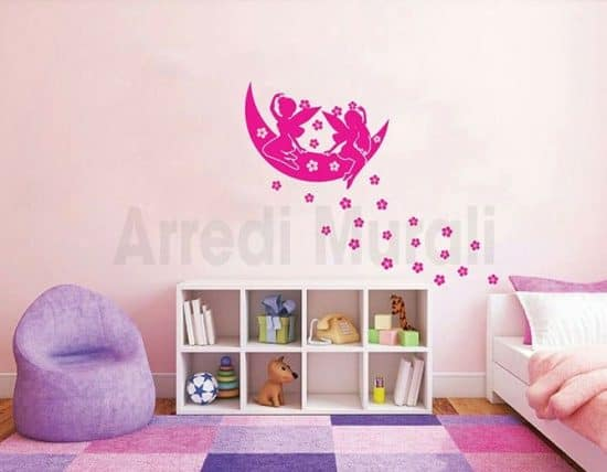 Adesivi da parete flower and fairy per arredo parete cameretta bimba