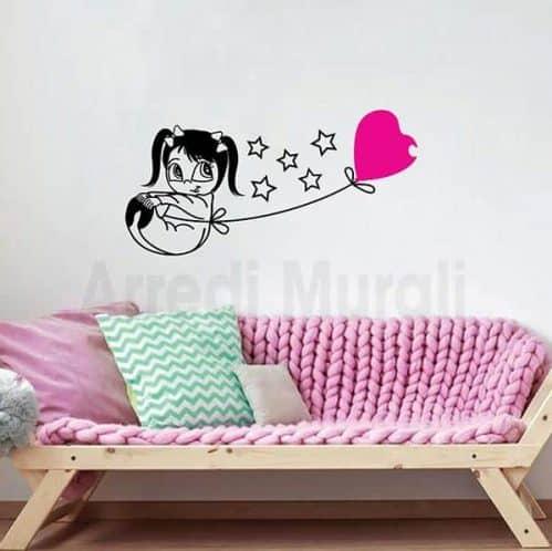 adesivi murali bambina palloncino