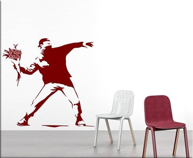 adesivi da parete Banksy Flower Thrower arte