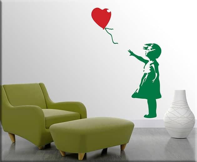 adesivi da parete Banksy bambina con palloncino