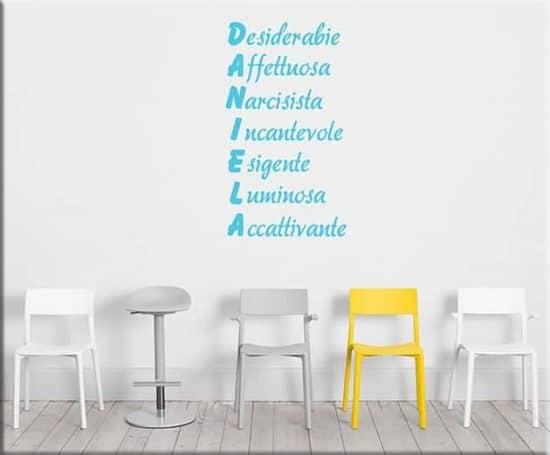 adesivi da parete acrostico nome personalizzato