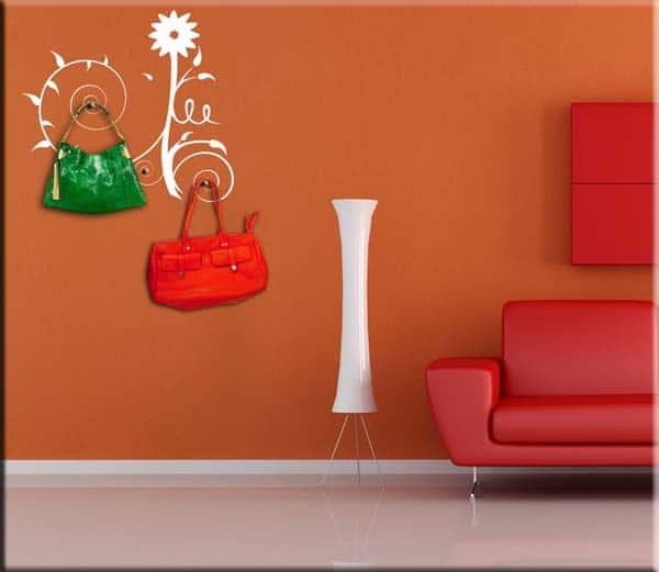 adesivi da parete appendiabiti fiore stilizzato