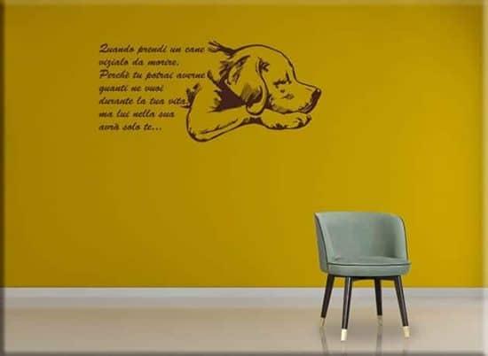 adesivi da parete frase quando prendi un cane