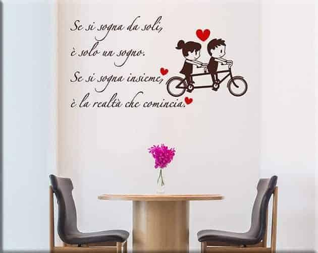 adesivi da parete frase sognare insieme