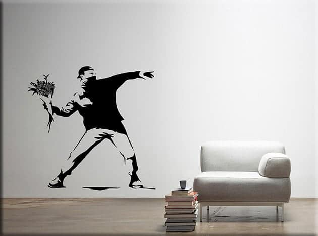 adesivi murali Banksy Flower Thrower arte