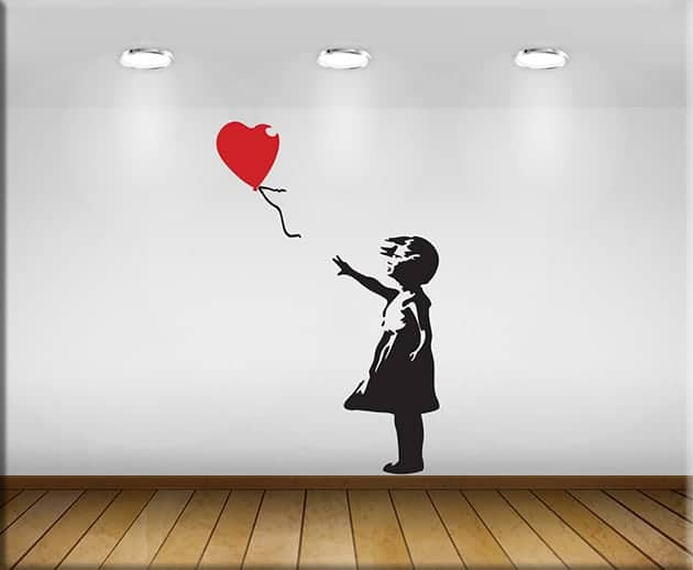adesivi murali Banksy bambina con palloncino