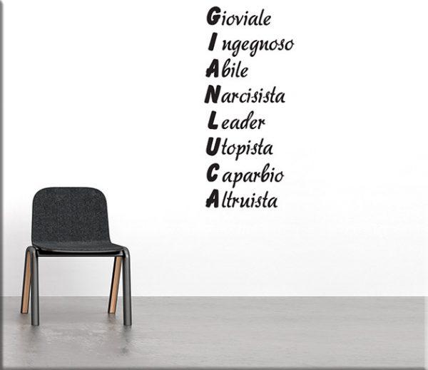 adesivi murali acrostico nome personalizzato