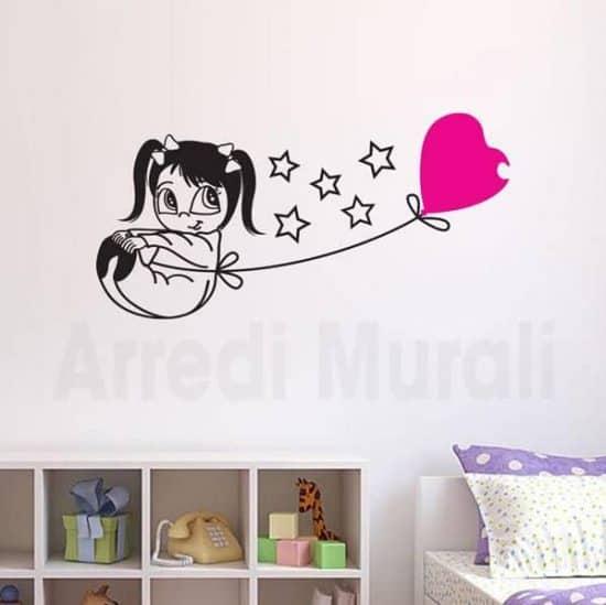 adesivi murali bambina con palloncino per cameretta