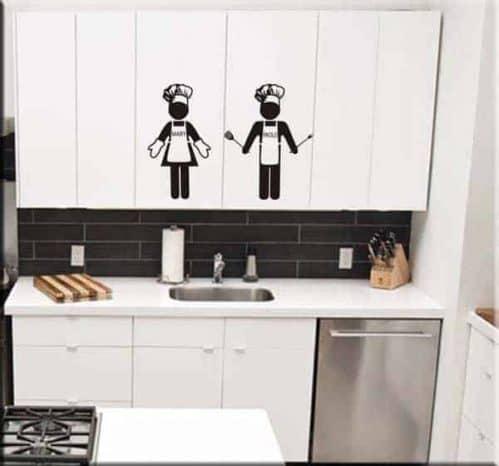 adesivi murali cuochi personalizzati uomo donna