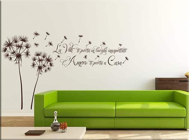 adesivi murali soffioni frase casa arredo