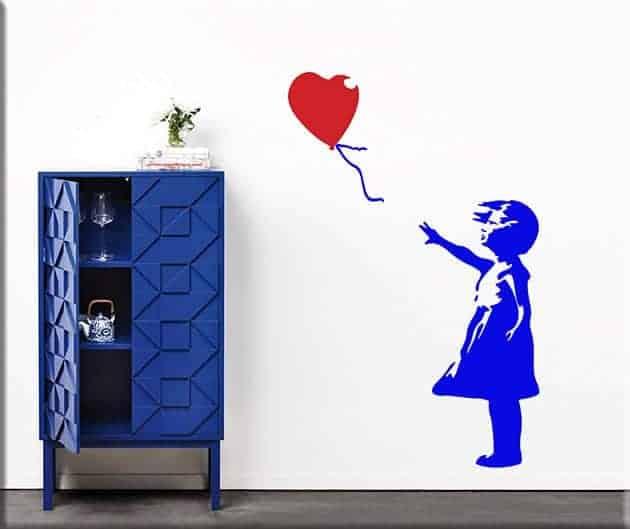 decorazioni da parete Banksy bambina con palloncino