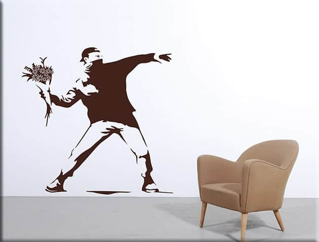 decorazioni murali Banksy Flower Thrower arte