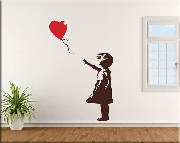 wall stickers Banksy bambina con palloncino