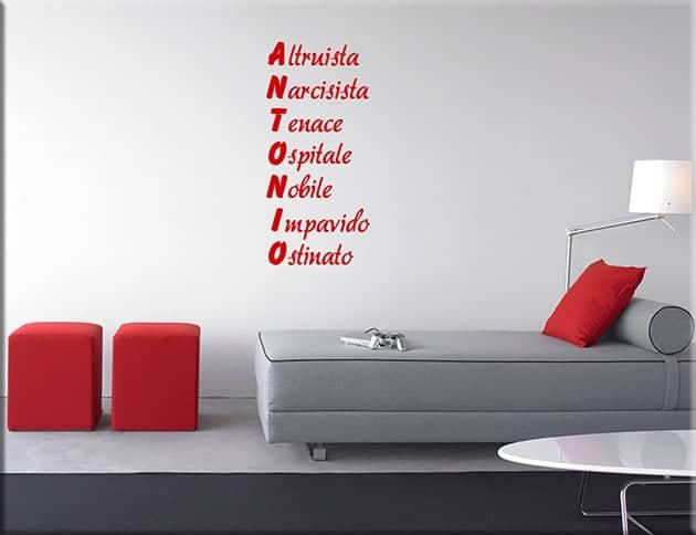 wall stickers acrostico nome personalizzato