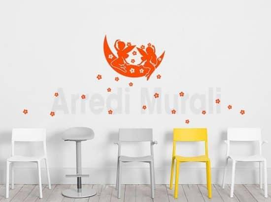 wall stickers camerette bimbe fatine che lanciano fiori dalla luna