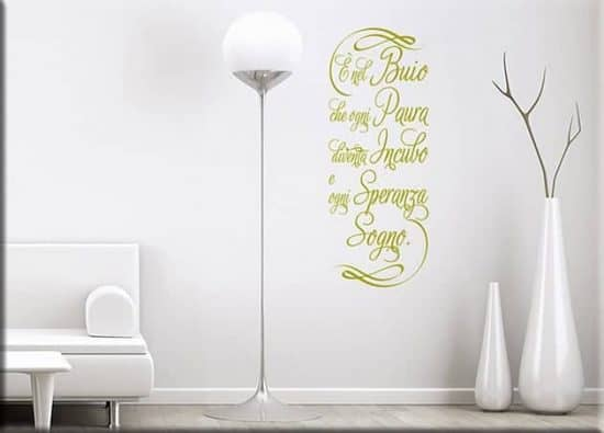 adesivi da parete frase buio arredo design