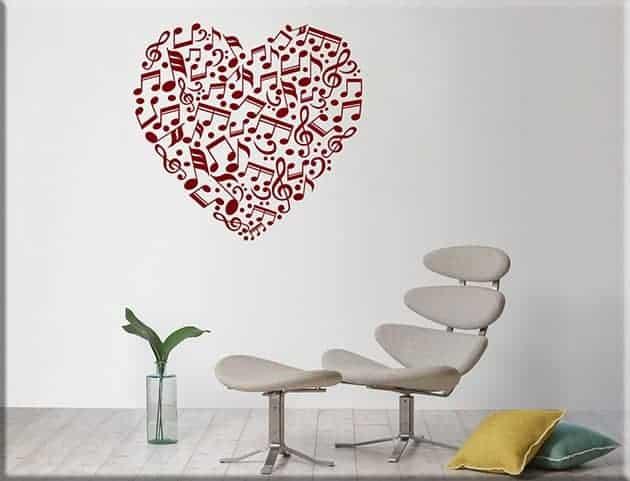 adesivi da parete note love music arredo