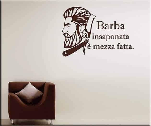 adesivi murali frase barbiere arredo