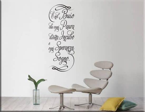 adesivi murali frase buio arredo design