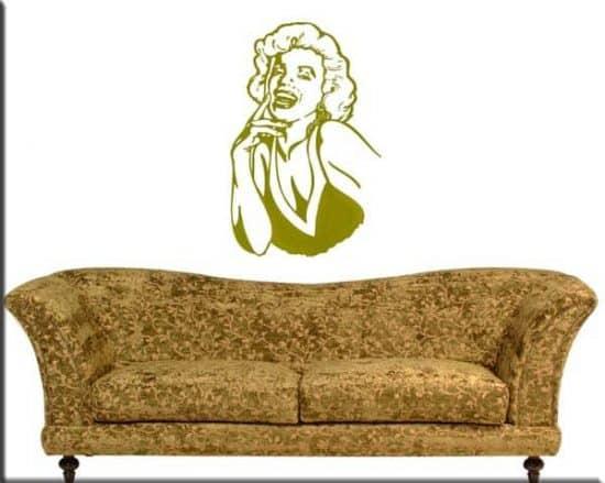 decorazioni murali volto Marilyn Monroe arredo