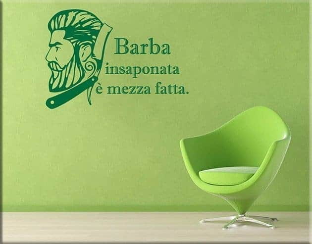 wall stickers frase barbiere arredo
