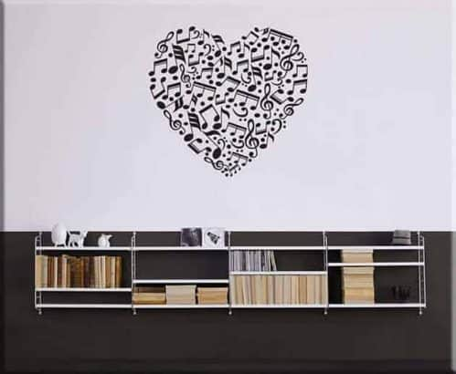 wall stickers note love music arredo