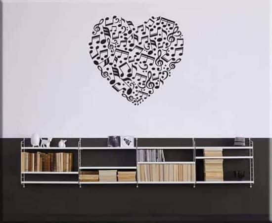 wall stickers note love music arredo