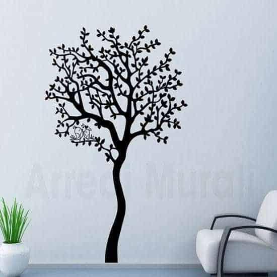 Adesivi murali albero con uccellini love nero