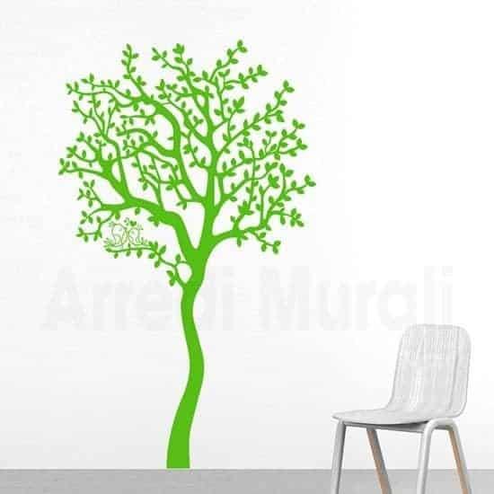 Adesivi murali albero verde con uccellini su ramo